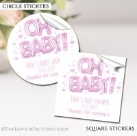 Pink Oh Baby Balloons Baby Shower Stickers