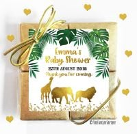Gold Safari Animals Baby Shower Chocolates Quads