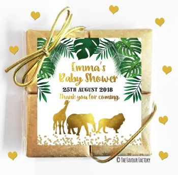 Baby Shower Chocolates Quads Favours Gold Safari Animals x5