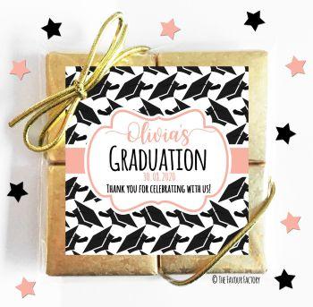 Graduation Chocolates Quads Favours Doctoral Hats Rose Gold x1