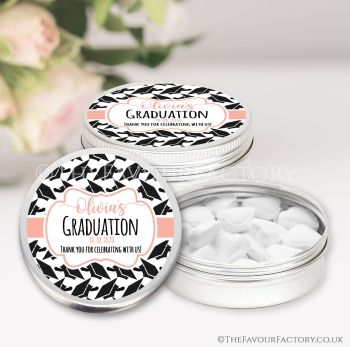 Graduation Favours Keepsakes Tins Personalised Doctoral Hats Rose Gold x1