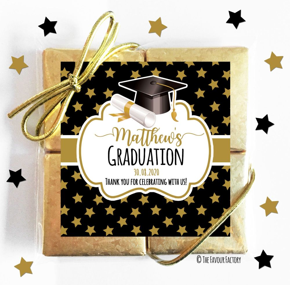 Doctoral Hat Gold Stars Graduation Chocolate Quads x1