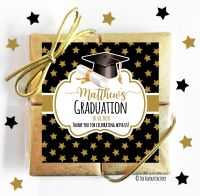 Doctoral Hat Gold Stars Graduation Chocolate Quads x1