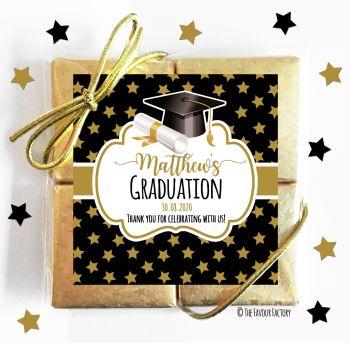 Graduation Chocolates Quads Favours Doctoral Hat Gold Stars x1