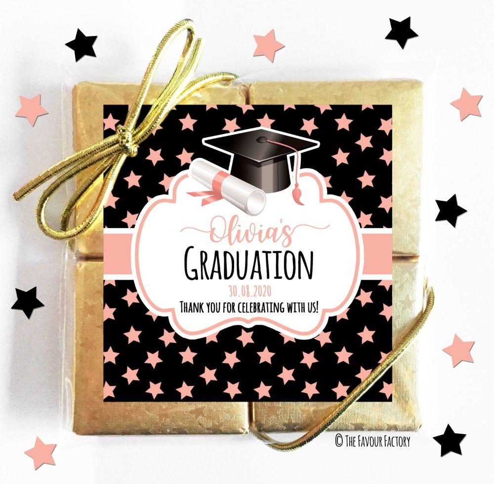 Doctoral Hat Rose Gold Stars Graduation Chocolate Quads x1