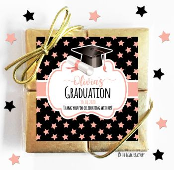 Graduation Chocolates Quads Favours Doctoral Hat Rose Gold Stars x1