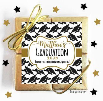 Graduation Chocolates Quads Favours Gold Doctorial Hats x1