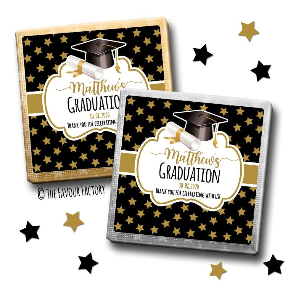 Doctoral Hat Gold Stars Graduation Chocolate Squares x10