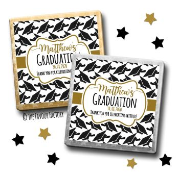 Doctoral Hats Gold Graduation Chocolate Squares x10