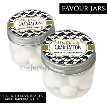 Graduation Favour Jars Personalise Doctoral Hats Gold £1 each