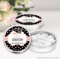 Doctoral Hat Rose Gold Stars Graduation Favour Tins x1