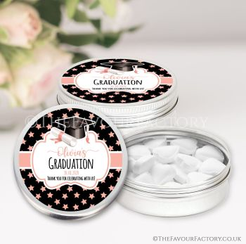 Graduation Favours Keepsakes Tins Personalised Doctoral Hat Rose Gold Stars x1