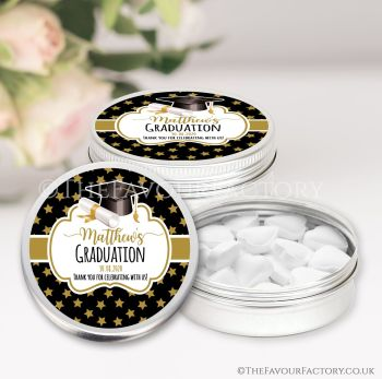 Graduation Favours Keepsakes Tins Personalised Doctoral Hat Gold Stars x1