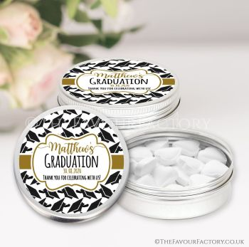 Graduation Favours Keepsakes Tins Personalised Doctoral Hats Gold x1