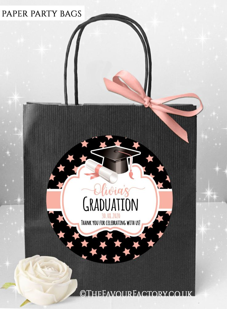 Doctoral Hat Rose Gold Stars Graduation Party Bags x1