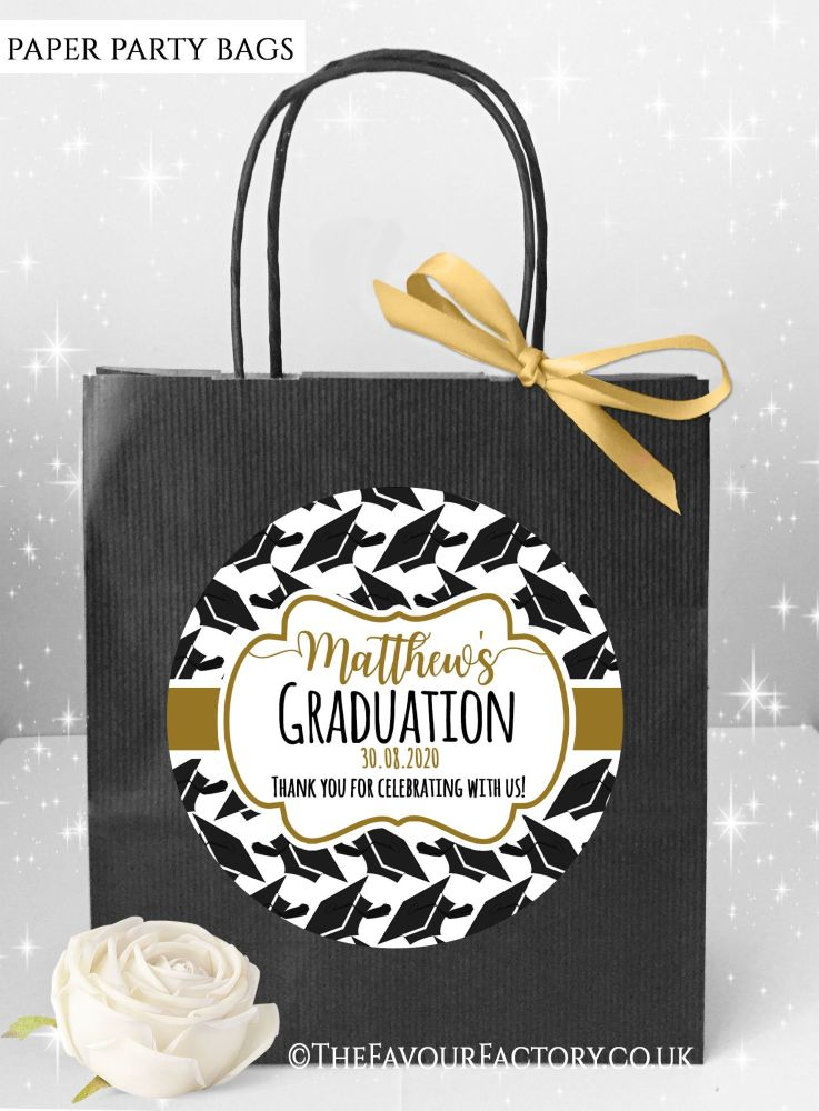 Doctoral Hats Gold Graduation Party Bags x1