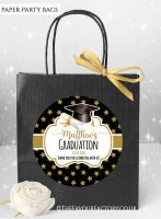 Doctoral Hat Gold Stars Graduation Party Bags x1