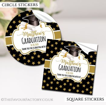 Graduation Stickers Personalised Doctoral Hat Gold Stars