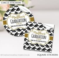 Personalised Graduation Stickers Doctoral Hats Gold