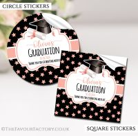 Personalised Graduation stickers Doctoral Hat Rose Gold Stars