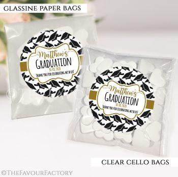 Graduation Sweet Bags Kits Doctoral Hats Gold x12