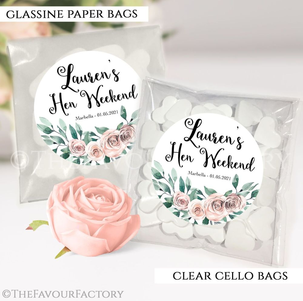 Floral Bouquet Hen Party Sweet Bags Kits x12