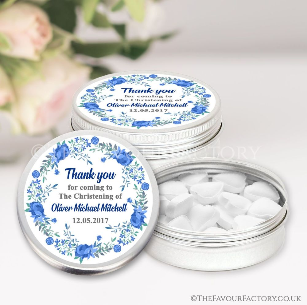 Personalised Christening Favours Tins Blue Floral Wreath x1