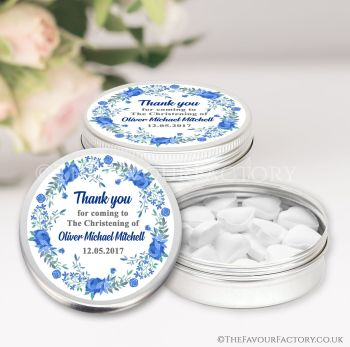 Christening Favours Keepsakes Tins Personalised Floral Wreath Blue x1