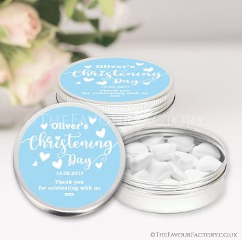 Christening Favours Keepsakes Tins Personalised Love Hearts Blue x1