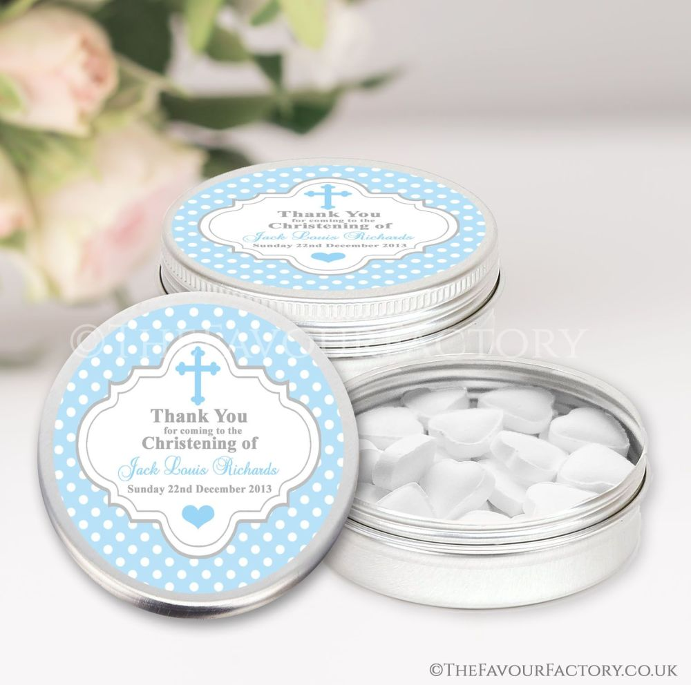 Personalised Christening Favours Tins Blue Polka Dots x1