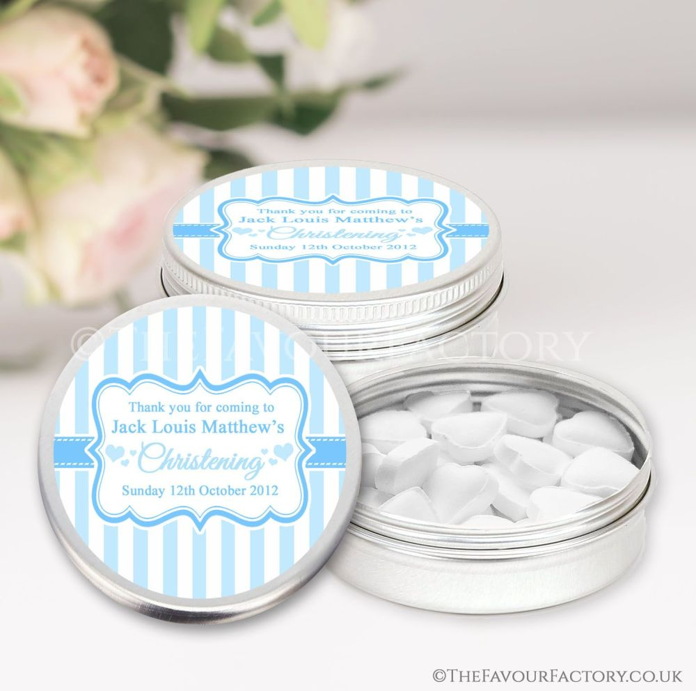 Personalised Christening Favours Tins Blue Stripes x1