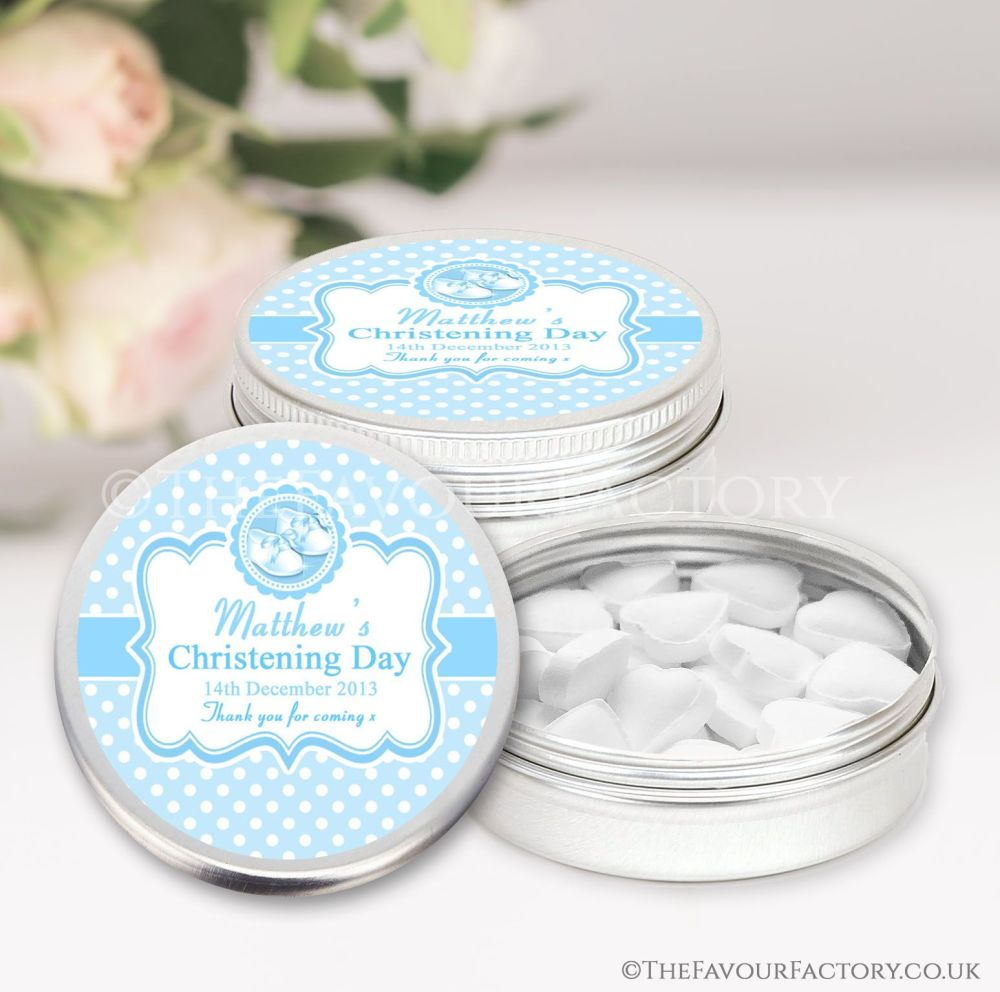 Personalised Christening Favours Tins Blue Booties x1
