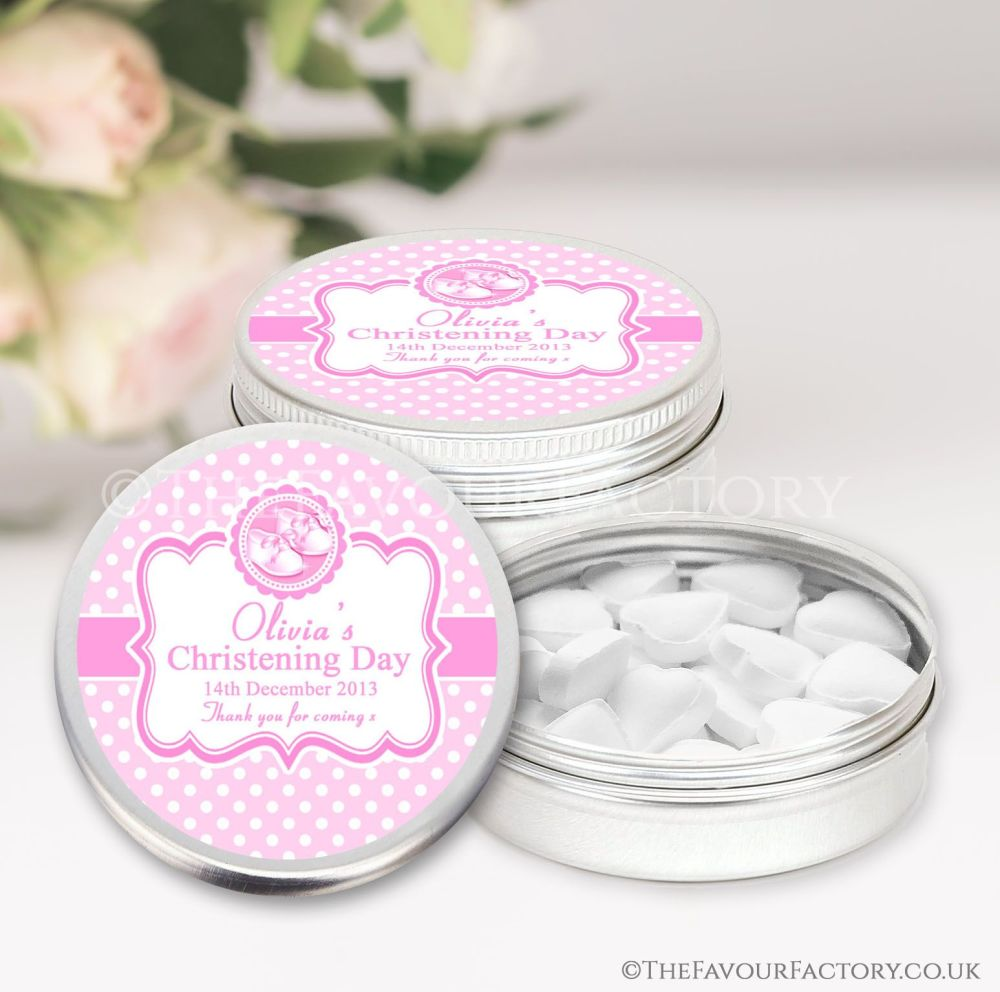 Personalised Christening Favours Tins Pink Booties x1