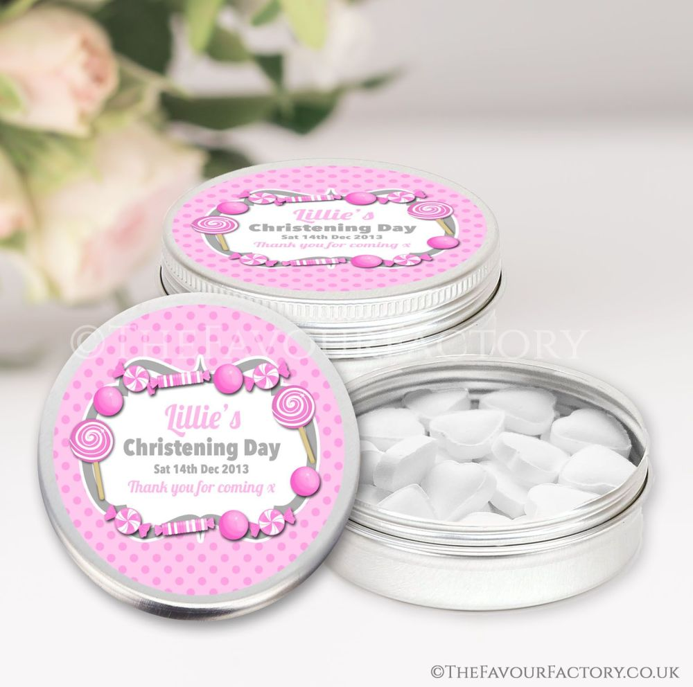 Personalised Christening Favours Tins Pink Sweets x1
