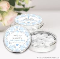 Personalised Christening Favours Tins Blue Damask Cross x1