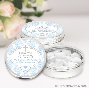 Christening Favours Keepsakes Tins Personalised Damask Cross Blue x1