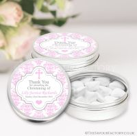 Personalised Christening Favours Tins Pink Damask Cross x1
