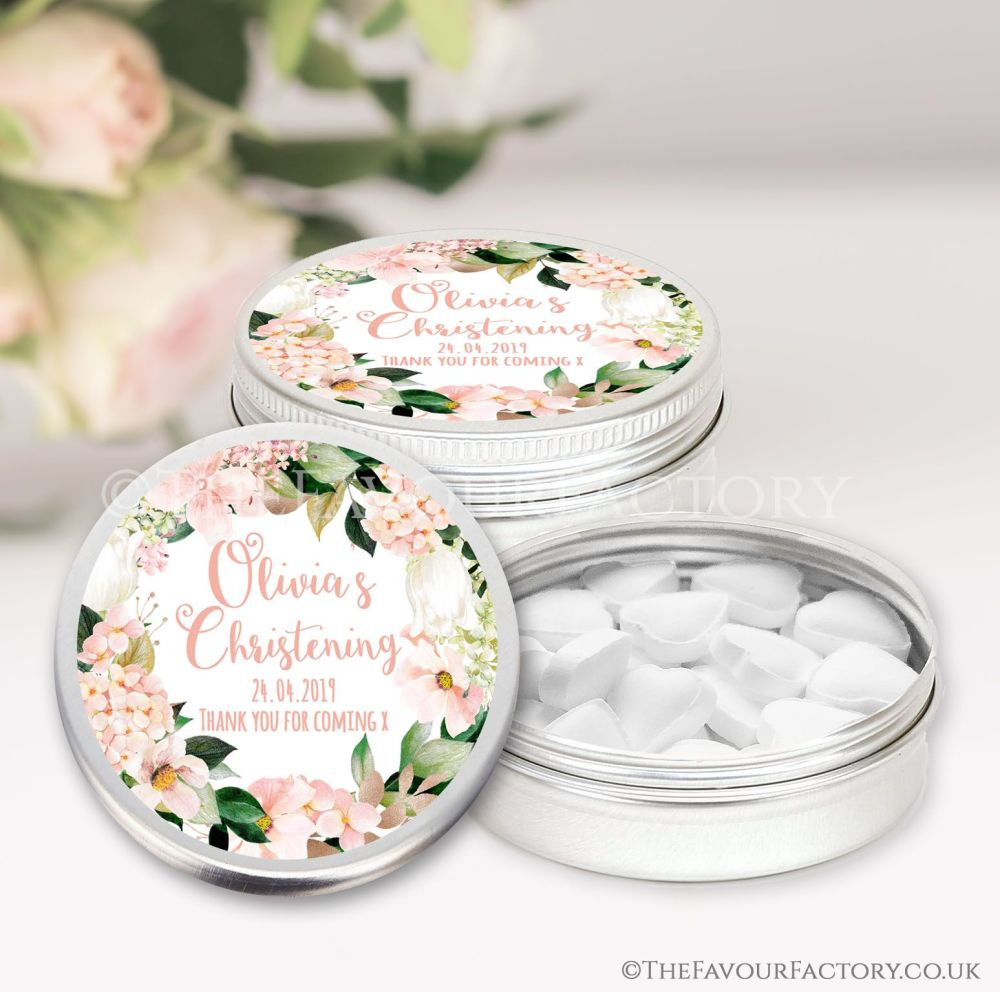 Personalised Christening Favours Tins Blush Hydrangeas x1