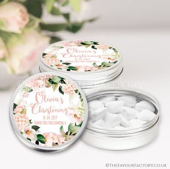 Christening Favours Keepsakes Tins Personalised Blush Hydrangeas x1