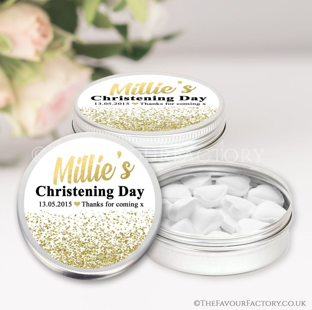 Personalised Christening Favours Tins Gold Glitter Confetti x1