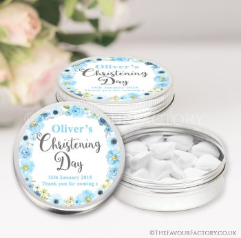 Christening Favours Keepsakes Tins Personalised Watercolour Flowers Blue x1