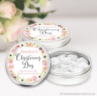 Personalised Christening Favours Tins Blush Flowers x1