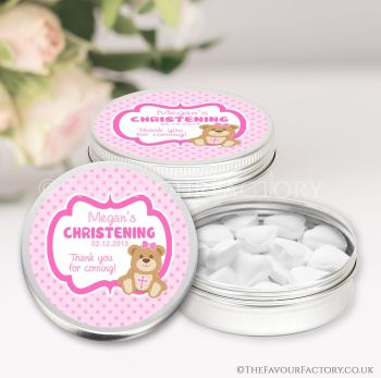 Christening Favours Keepsakes Tins Personalised Teddy Bear Pink x1