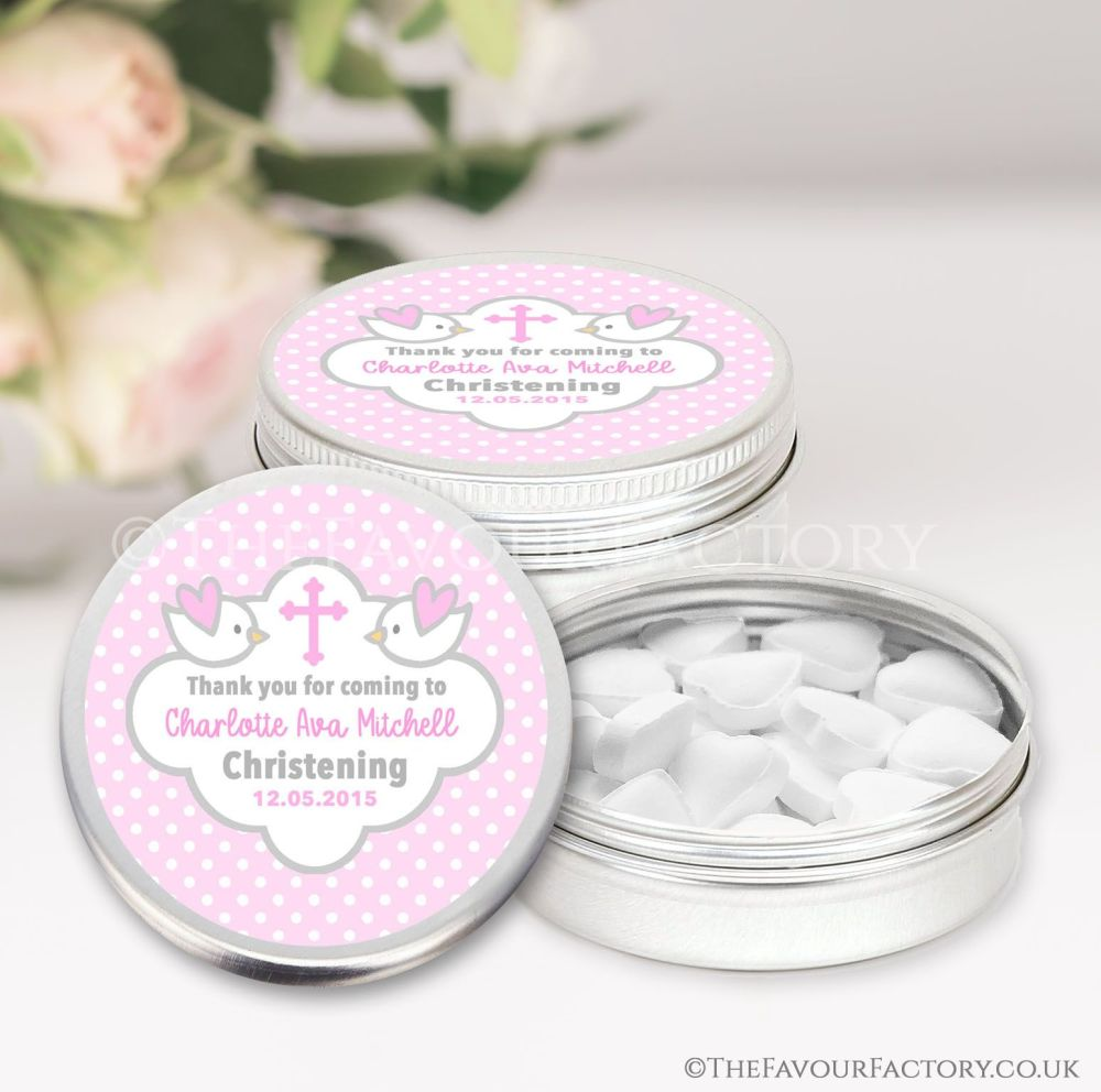 Personalised Christening Favours Tins Pink Doves x1