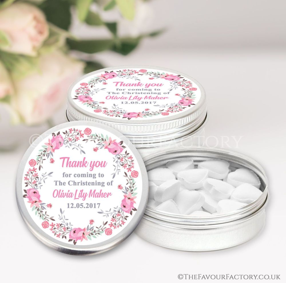 Personalised Christening Favours Tins Pink Floral Wreath x1