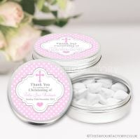Christening Favours Keepsakes Tins Personalised Polka Dots Cross Pink x1