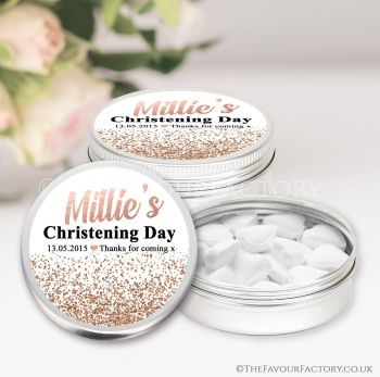 Christening Favours Keepsakes Tins Personalised Glitter Confetti Rose Gold x1