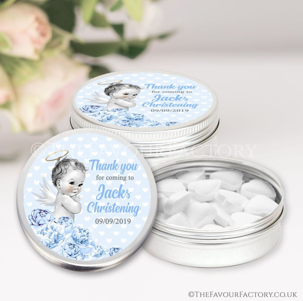 Personalised Christening Favours Tins Vintage Baby Boy x1