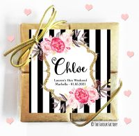 Named Hen Party Chocolate Quads Black Stripe Floral x1