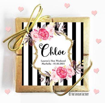 Hen Party Chocolates Quads Favours Black Stripe Florals x1
